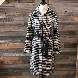 Zara Wool Houndstooth belted Long Coat  M